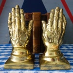 Vintage Brass Hand Bookends
