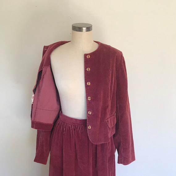70's vintage corduroy skirt suit set.
