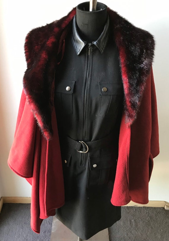 Crimson Fantasy Cloak, Red Riding Hood Cape, Cosp… - image 2