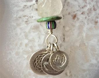 Talisman, Quartz Crystal Necklace,  Lotus Necklace, Energy Necklace, Charm Necklace, Boho Jewelry, Boho Necklace, Silver Charm Necklace