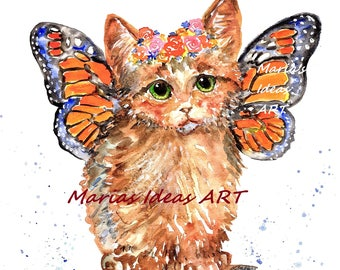 Kitten art, Fairy art, Cat Fairy, Cat wall art, Butterfly wings, Crazy Cat Lady, Cat art, Kitty art, Marias Ideas, Marias Ideas Art