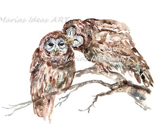 Owl art, Owl pair, Owl print, love birds, Kissing Owls,  Bird wall art, Marias Ideas Art