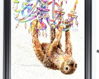 Sloth, Two toed Sloth print, Chandelier, Party animal, two toed Sloth, Funny sloth art, Marias Ideas Marias Ideas Art