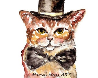 Cat wearing hat, Cat wall art, Cat print, Crazy Cat Lady, Cat art, Kitty art, Marias Ideas, Marias Ideas Art