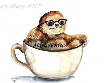 Sloth with glasses, Sloth in Coffee cup, coffee art, cafe art, coffee art, Funny sloth art, Marias Ideas, Marias Ideas Art
