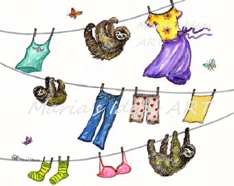 Sloth hanging to dry, Laundry room art, sloth drying,  Sloth hanging, sloth wall art, Funny sloth art, Marias Ideas, Marias Ideas Art