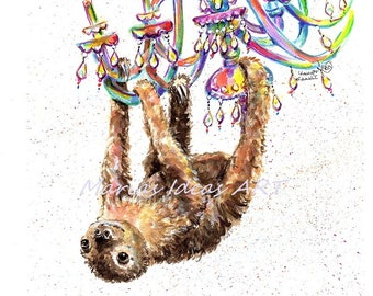 Funny Sloth, Two toed Sloth print, Chandelier, Party animal, two toed Sloth, Funny sloth art, Marias Ideas Marias Ideas Art