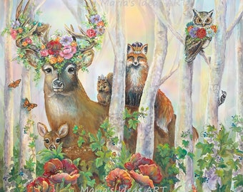 Woodland animals, Nursery art, Deer with flowers, Wildlife art, Enchanting Art, Marias Ideas Art, Pittsburgh artist