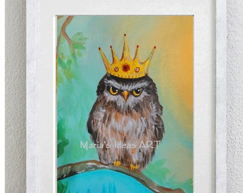Owl art, Owl with crown, Royal Owl, Owl in tree, Bird wall art, Nursery wall art, animal art