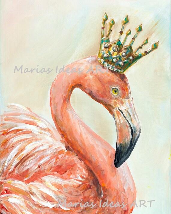 Pink Flamingo print Bird with crown Bird wearing crown | Etsy