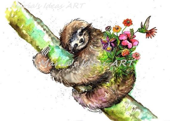 Sloth In Tree Sloth Garden Sloth Hanging Sloth Wall Art Etsy