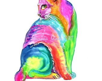 Cat art, Rainbow art, modern Cat, Cat print, colorful Cat, rainbow wall art, nursery wall art, Marias Ideas