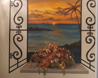 Estimate for Custom Mural, beach murals, ocean wall art, window mural, seascape mural, custom Mural,