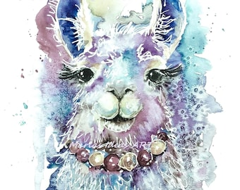 LLama, Alpaca, Farm animal, animal print, llama print, nursery wall art, Marias Ideas Art