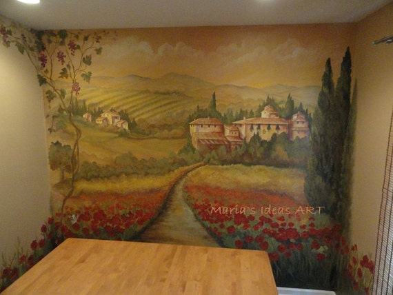 Estimate for Kitchen wall murals, Tuscan Mural, landscape Custom Mural,  Poppy fields, Italian Mural, landscape murals, Pittsburgh muralist