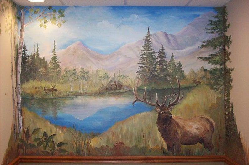 Elk mural on walls or canvas Estimate for wildlife art Wildlife murals custom landscape MURAL Custom Murals