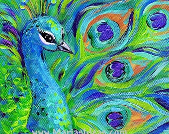 large Peacock print, peacock, wall art, Bird print,  peacock painting, Bird art, Signed Print, proud peacock