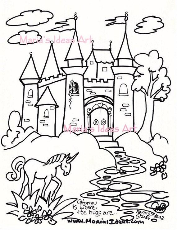 Articoli Simili A Disegni Da Colorare Arte Castello Per Bambini
