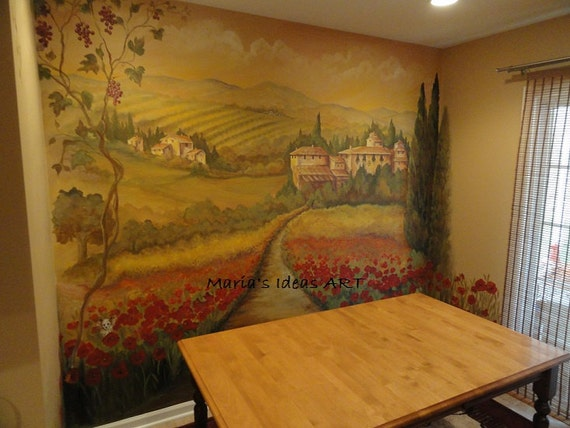 Estimate For Kitchen Wall Murals Tuscan Mural Landscape Custom Mural Poppy Fields Italian Mural Landscape Murals Pittsburgh Muralist