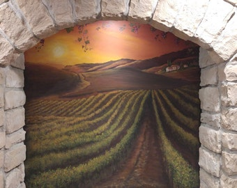 Estimate for Custom Mural, Wine cellar wall art, Vineyard mural, wine room mural, Landscape Mural,