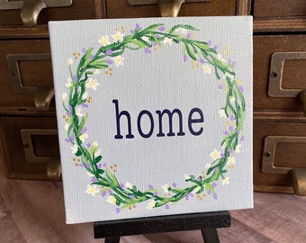 """Floral Wreath Painting """"Home"""" - 4x4 Canvas"""
