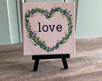 """Floral Wreath Painting """"Love"""" - 4x4 Canvas"""