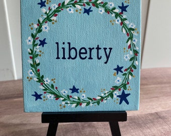 """Floral Wreath Painting """"Liberty"""" - 4x4 Canvas"""