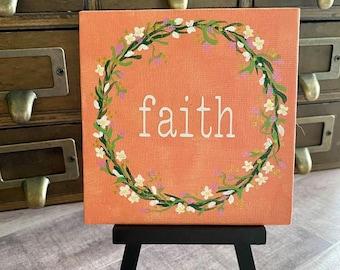 """Floral Wreath Painting """"Faith"""" - 4x4 Canvas"""