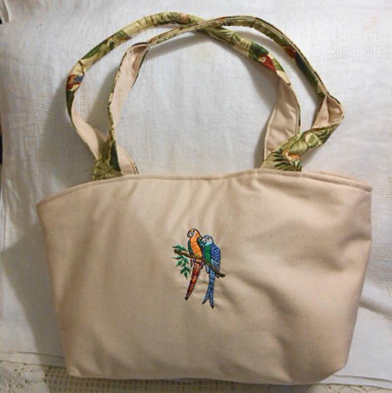 Soft Cotton EMBROIDERED PARROTS PURSE Pretty Birds Girlie Ecru Handbag Padded Handles Tropical Lining Pocket Snap Closer MyBPStudio Handmade