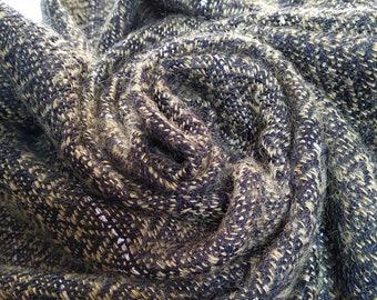 Handwoven evening shawl - golden and black - pailettes, Christmas gift, warm scarf, Elegant shawl