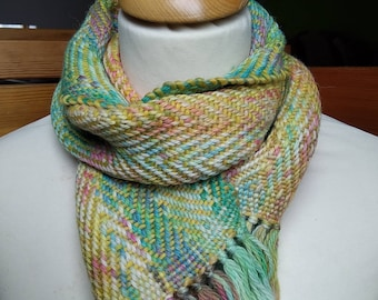 Multicolor (yellow, green, turquoise, orange...) Hand woven, hand dyed, baby scarf