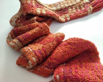 Orange Handwoven neck warmer - merino wool - unisex