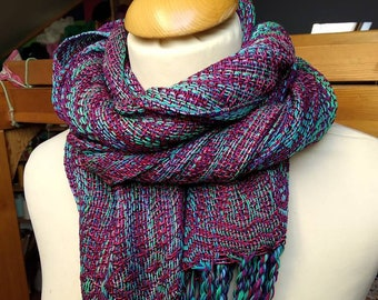 Purple and Green Large hand woven shawl - cotton and viscose
