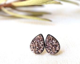 3e0abbf9e Rose Gold Druzy Earrings, Teardrop Druzy Stud Earrings, Stainless Steel  Studs, Rose Gold Druzy Post Earrings, Gift Women, Hypoallergenic