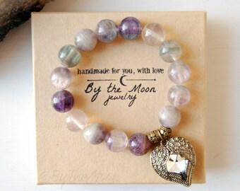 Fluorite Bracelet, Gemstone Bracelet, Heart Locket Bracelet, Purple Stone Bracelet, Fluorite Stretch Bracelet, Boho Bracelet, Gift Women
