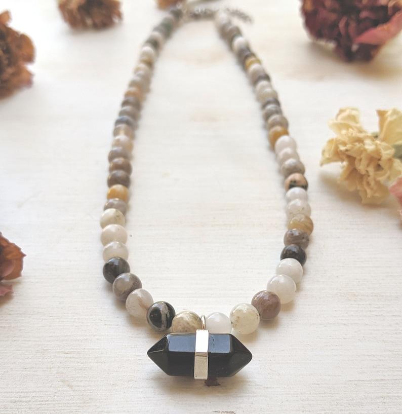 Onyx Choker Gift Women Beaded Stone Necklace Bamboo Agate Necklace Onyx Necklace Onyx Pendant Bamboo Agate Choker Gemstone Necklace