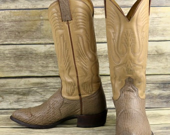 3c349529fe Imperial Cowboy Boots Tan Brown Leather Mens Size 7.5 D Western Country  Vintage