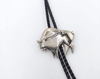 Bison Men/'s Accessories Buffalo Bolo Tie Antler Bolo Tie Buffalo Bolo Tie Elk Antler Leather