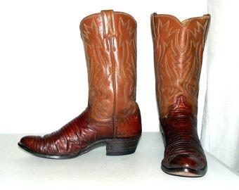 4bcf380271ebd Justin de cuir lézard marron marque des bottes de cow-boy la taille 10 A
