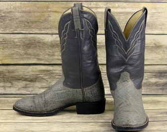 5ce0703b2e Hondo Cowboy Boots Gray Exotic Leather Mens Size 7.5 D Country Western  Shoes Vintage