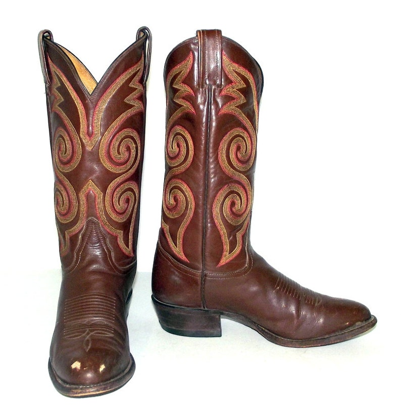 b8ef21a477e Mens 8 D Tony Lama Cowboy Boots Western Rockabilly Shoes Red Yellow Womens  9.5