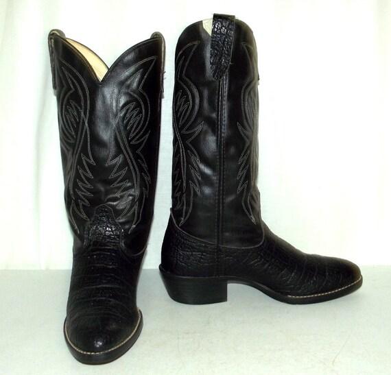 8 Bronco 5 Friendly rockabilly EE cow des de grande Vintage pour western boy largeur noir homme taille Vegan bottes marque 1Sq1RwZ