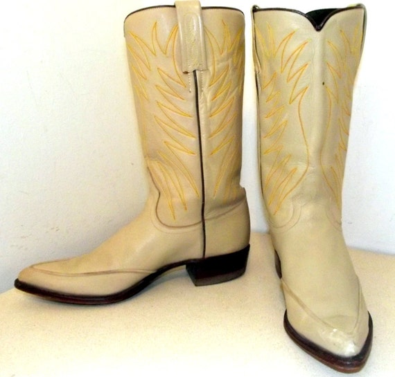 de Vintage clair broderie Dan avec orange bottes Cowboy beige marron et marque post zwxxIdqr0