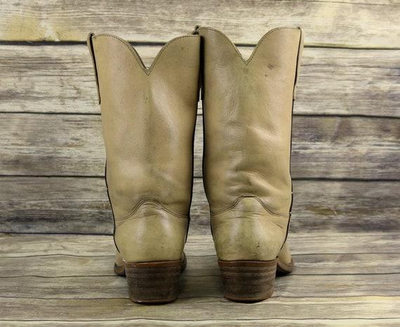 10 Vintage Mens Vintage Leather Western 5 Tan 9 Cowboy Boots Light Distressed Size D vqrwvA4x