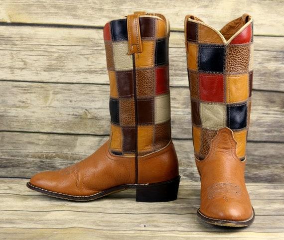 Acme étroit pour homme Ouest Patchwork Tan C Cowboy 9 Brown en bottes taille cuir Vintage de trdhCxsQB