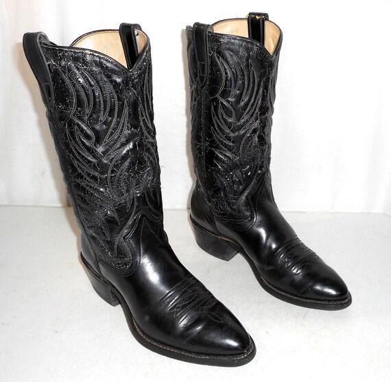 womens mens 5 D 8 Boots 10 rockabilly Cowboy size Vintage Black Texas western gxzwqAcU4