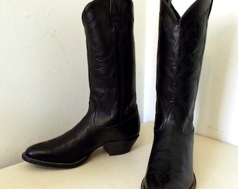 Vintage Black Leather Cowboy Boots Tony Lama brand size 7.5 B