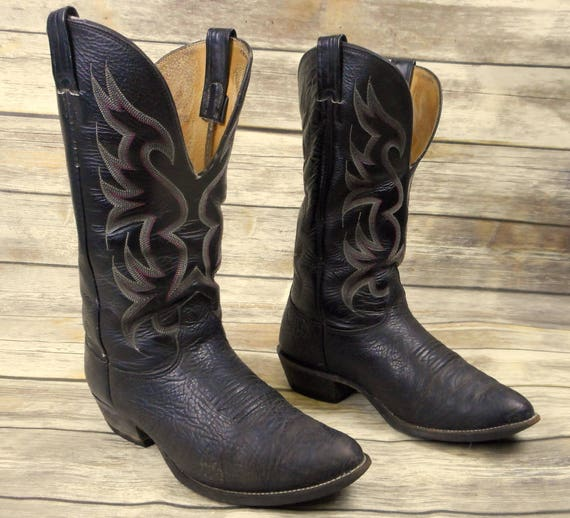 Leather Boots Mens Western Nocona Cowboy EE Rockabilly Black Distressed 9 Wide 0aqw4a7