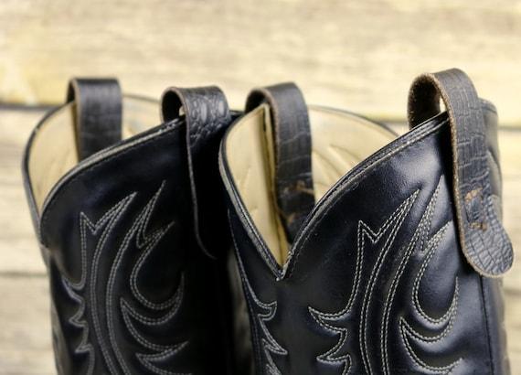 8 Vintage Leather Cowboy Western D Print Black Mens Boots Exotic Texas Rockabilly Size x4qw71wY