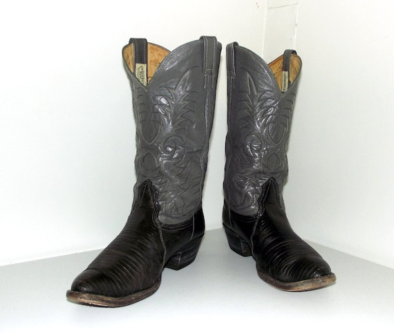 or Two size brand size wide tone foot 5 with E 10 9 grey Nocona lizard cowgirl cowboy boots width rzwpxrqPt